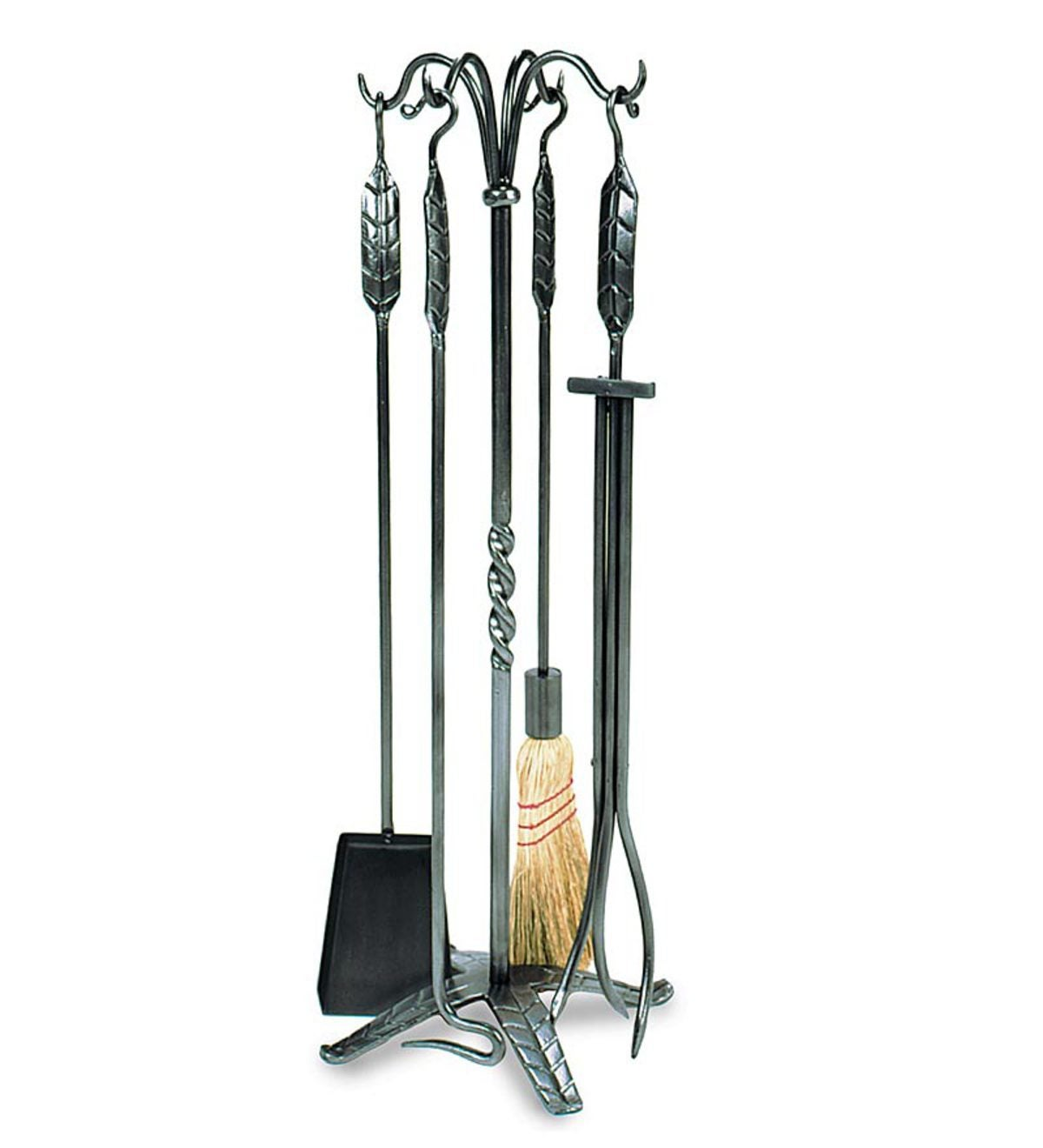 5-Piece Fireplace Tool Set with Leaf Handles