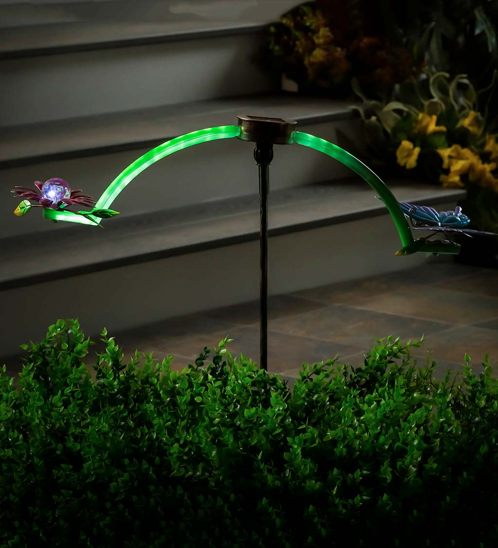 Solar Lighted Butterfly and Flower Balancer Garden Stake