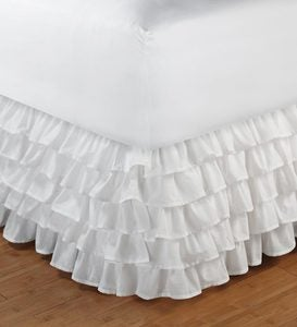 Twin Bed Skirt with Ruffles - White