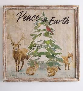 Wildlife Peace on Earth Wood-Framed Holiday Wall Art