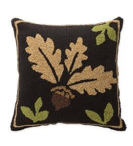 Indoor/Outdoor Woodland Throw Pillow with Acorn