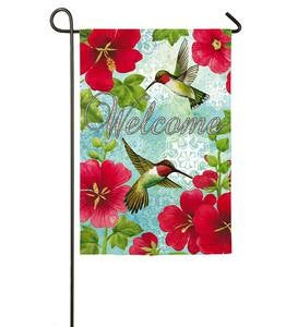 Hummingbirds and Hollyhocks Welcome Garden Flag