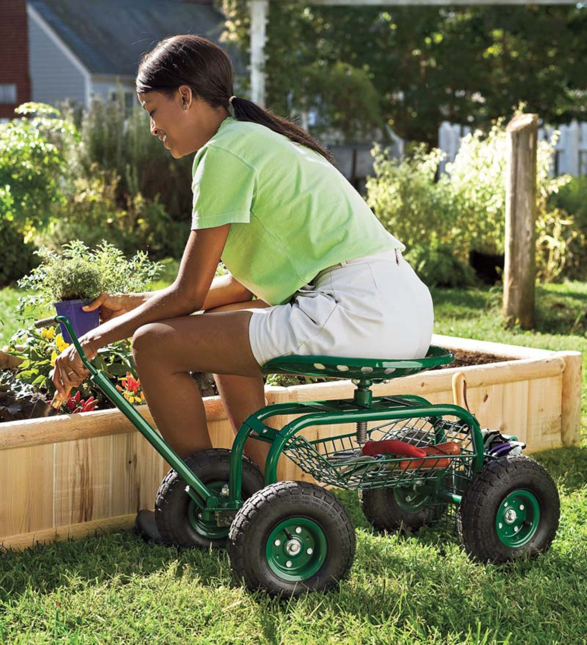 Green Rolling Scoot-N-Do Garden Seat