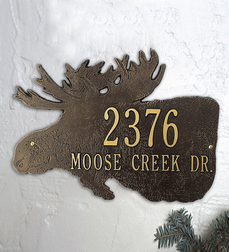 American-Made Moose Silhouette Address Plaque In Cast Aluminum swatch image