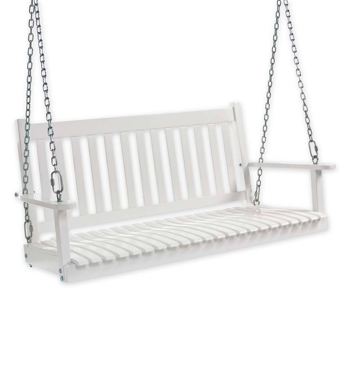 Slatted Wood Porch Swing White Paint