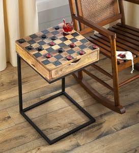 Checkerboard Pull-Up Side Table with Game Pieces