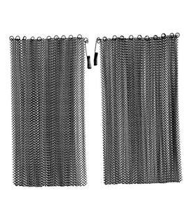 Black Mesh Curtain Fireplace Screen Curtain Pairs