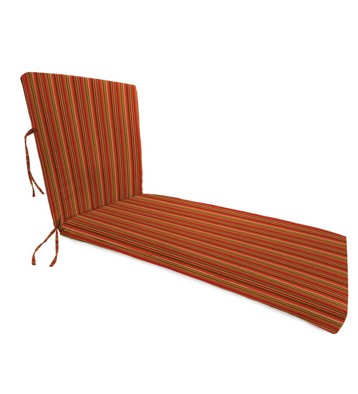 "Sunbrella® Classic Chaise Cushion with Ties, 65""x 23""x 4""hinged 46""from bottom - Cherry Stripe"