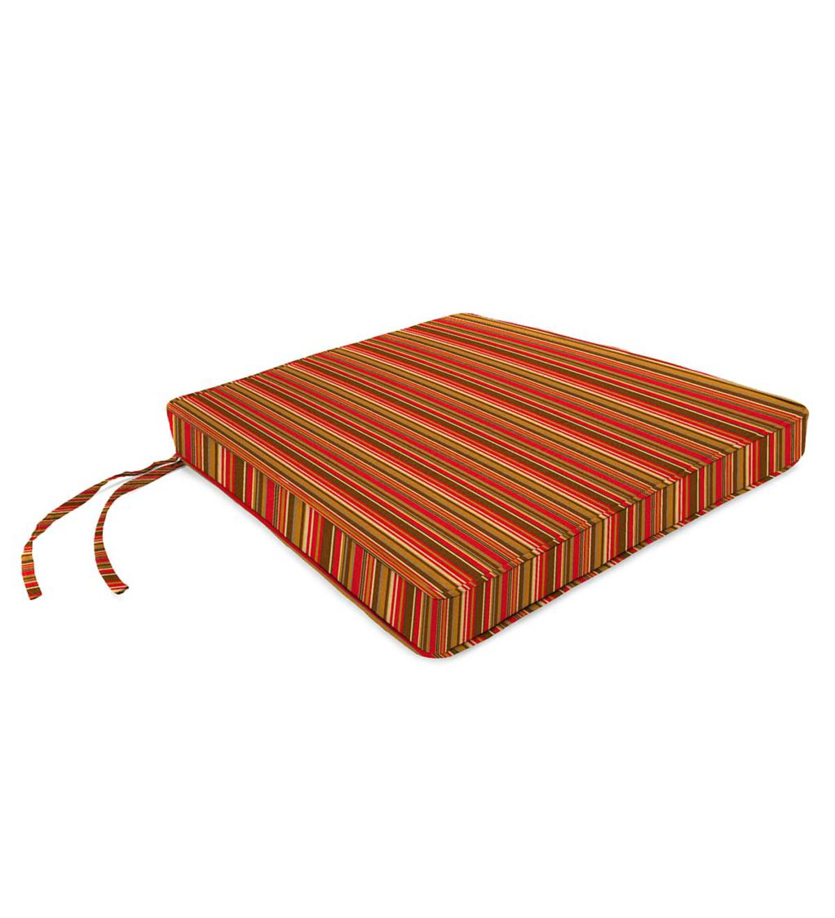 "Deluxe Sunbrella Square Cushion with ties 16"" x 16"" x 3"" - Cherry Stripe"