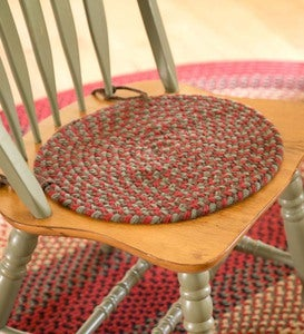 "USA-Made Wool Braided Virginia Chair Pad, 15""dia."