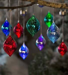 Color Changing Mercury Glass Solar Ornaments, Set of 3