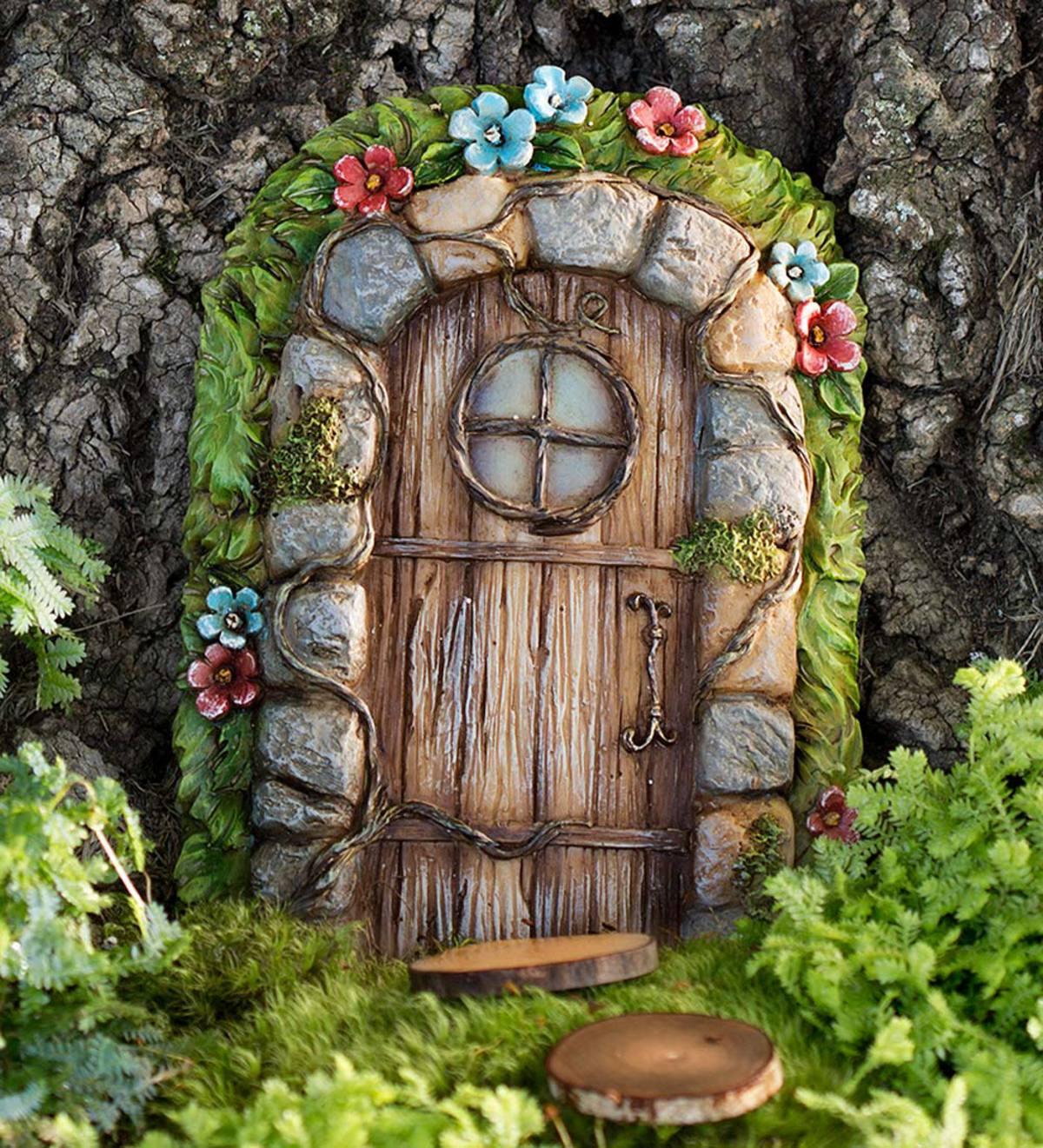 Miniature Fairy Garden Stone Door Tree Accent Plowhearth