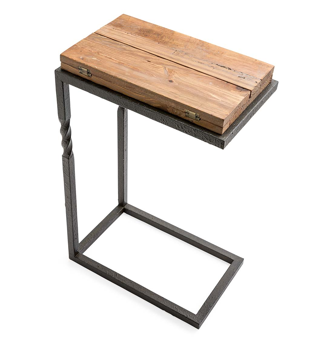 Deep Creek Rustic Pull-Up Table with Fold-Out Leaves in Wood and Metal