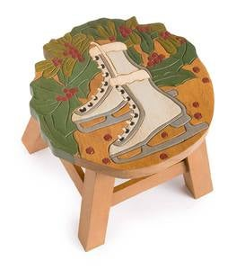 Hand-Carved Wood Winter Fun Footstool