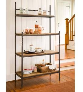 Deep Creek Baker's Rack with Metal Frame and Rustic Wood