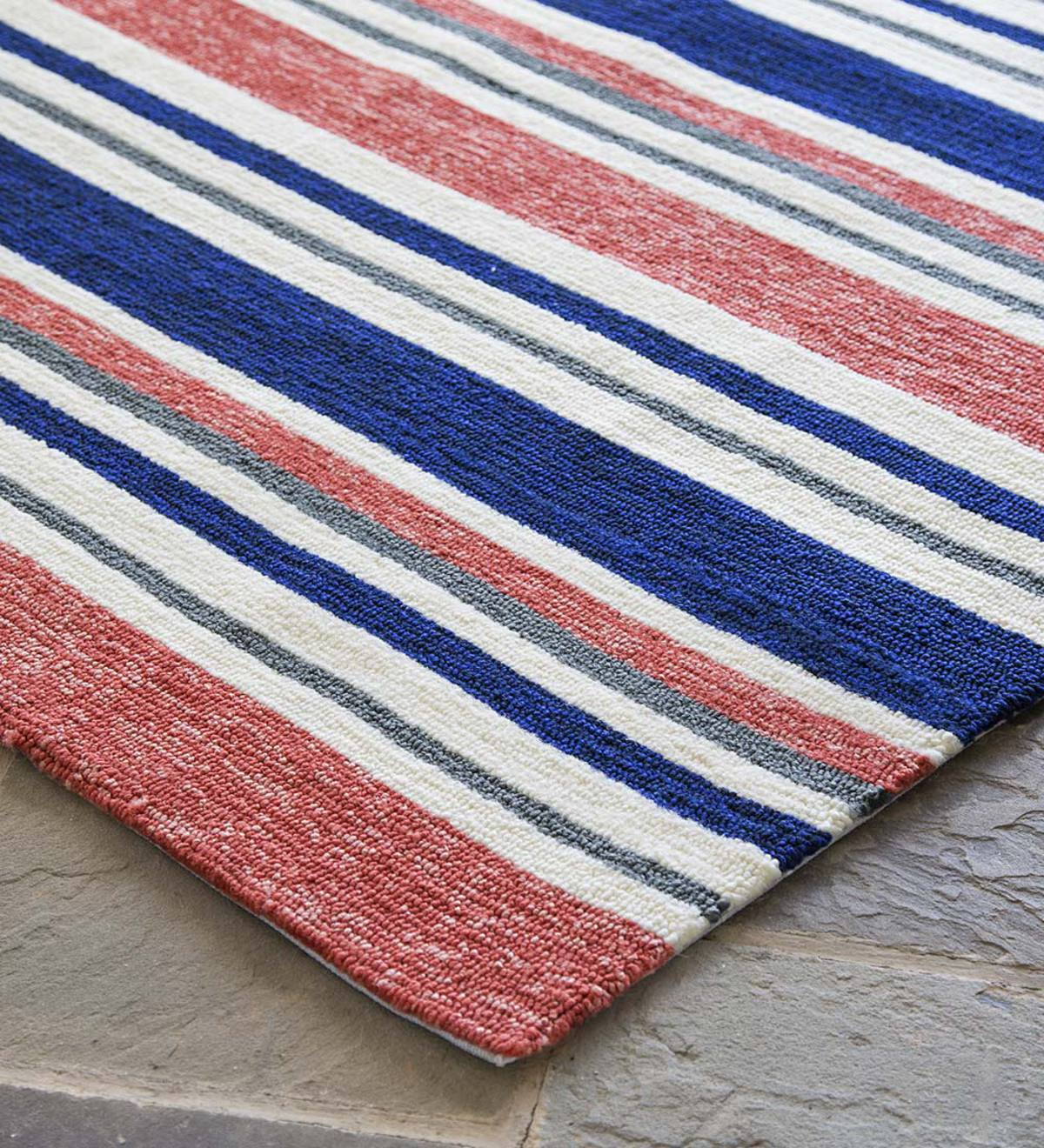 "Coral Stripe Indoor/Outdoor Rug, 24""x 42"""