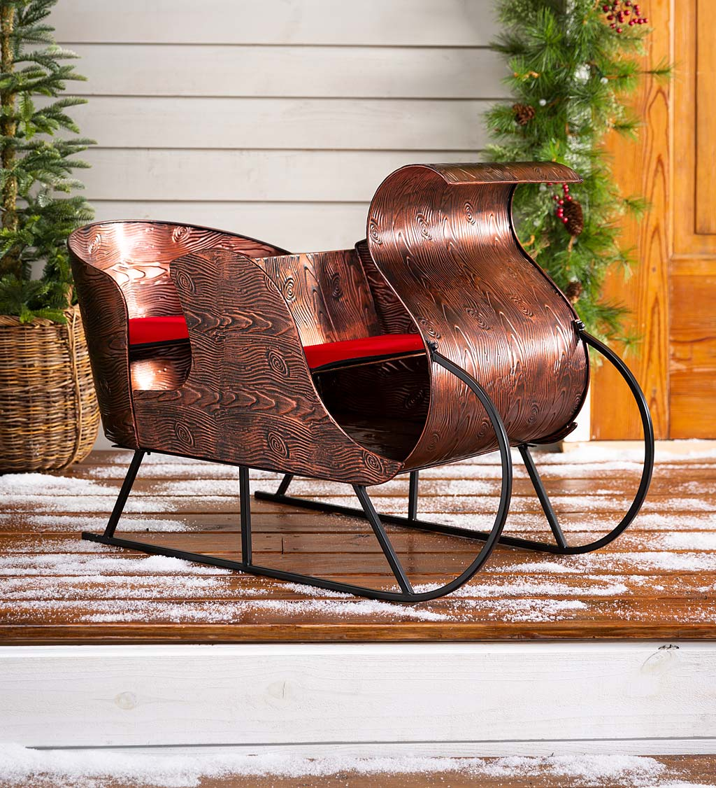 Metal Faux Bois Style Sleigh with Cushion Accents