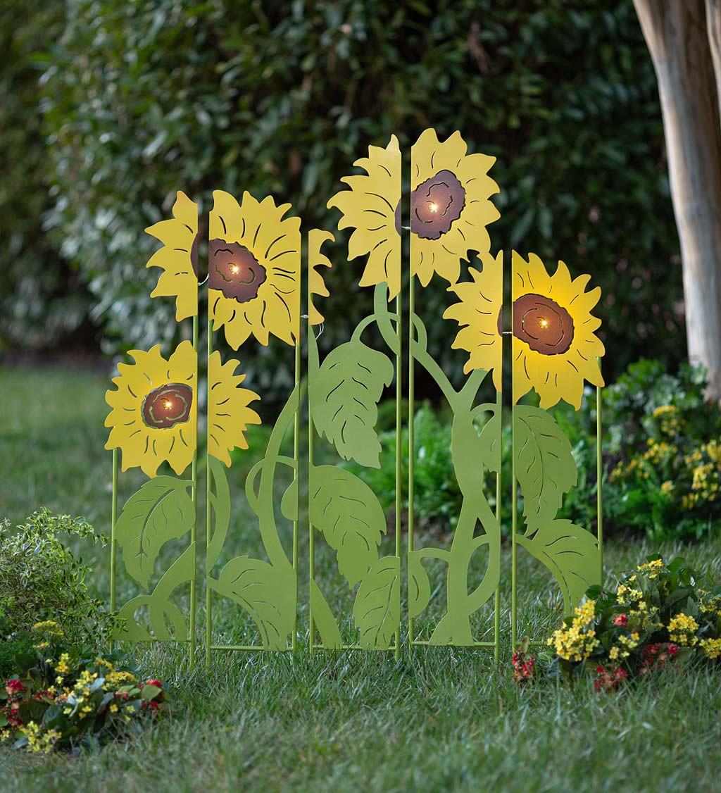 Sunflower Garden Lighted Landscape Panel Stakes