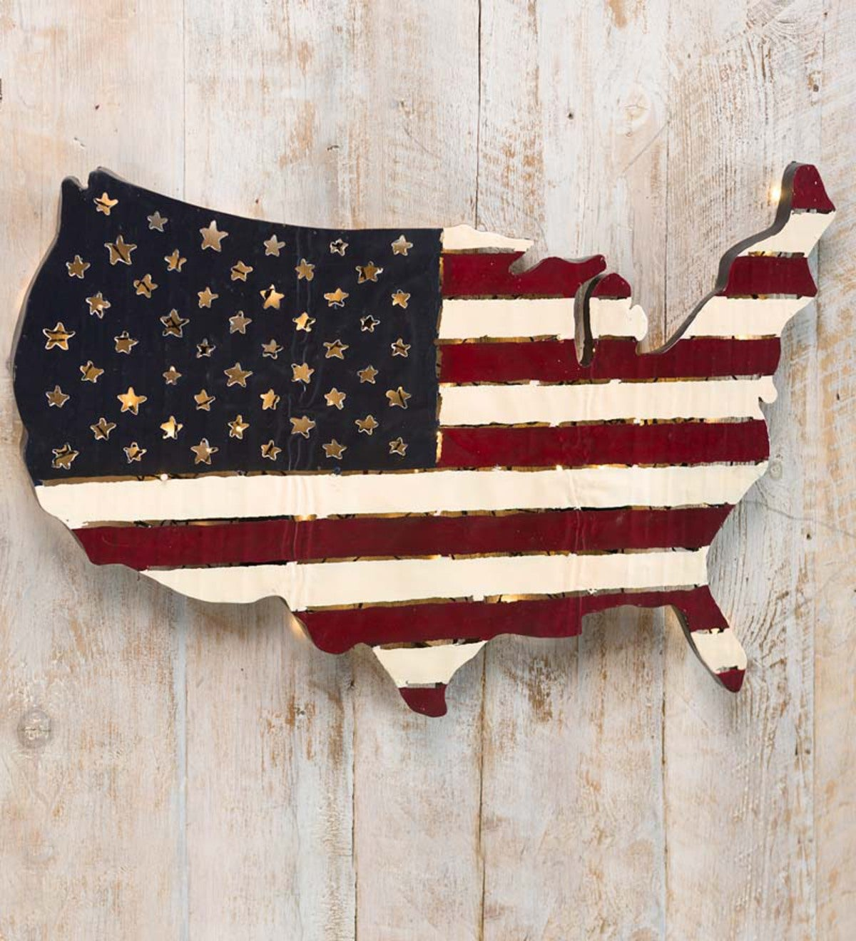 Lighted Americana Flag Art