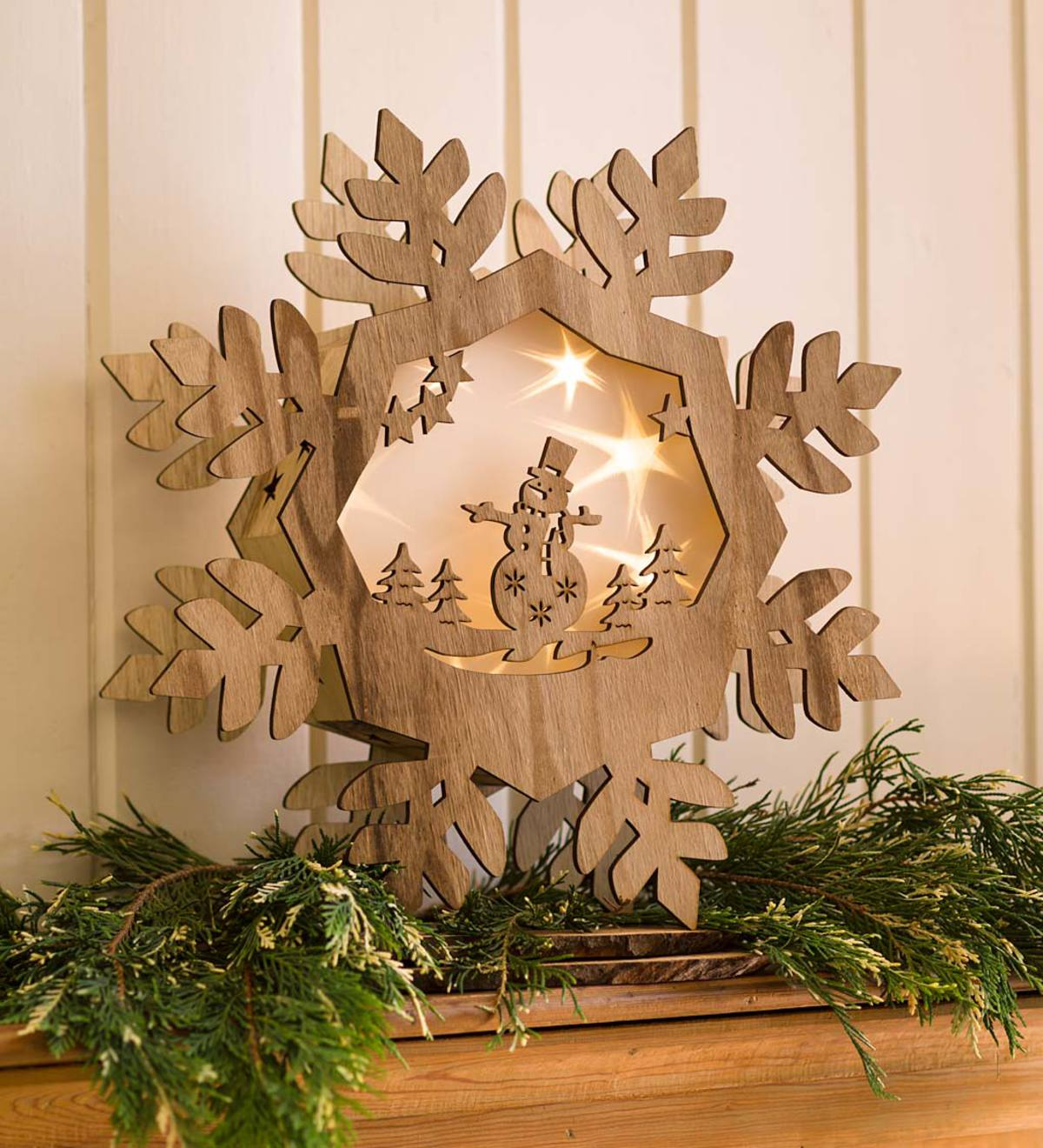 Wooden Star or Snowflake with Lighted Holographic Inset