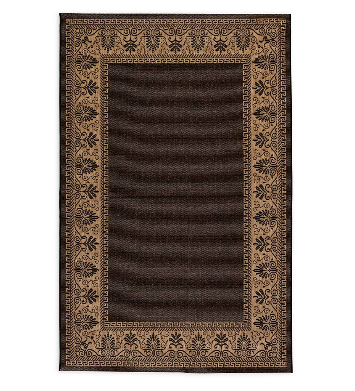 "Veranda Border Indoor/Outdoor Rug, 5'10""x 9'2"" - Black"