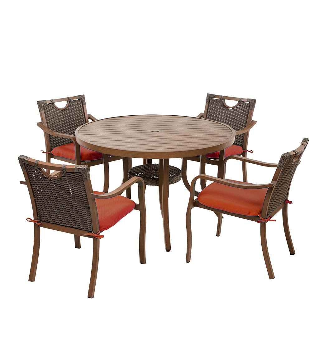 Urbanna Wicker Dining Table and Chairs Set with Cushions swatch image