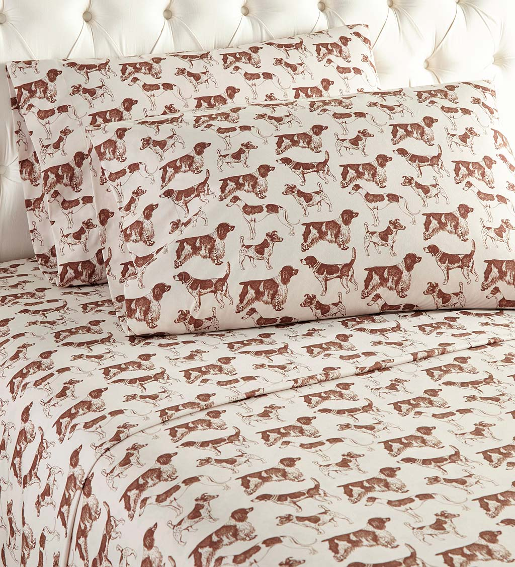 Hunting Dog Micro Flannel Sheet Set