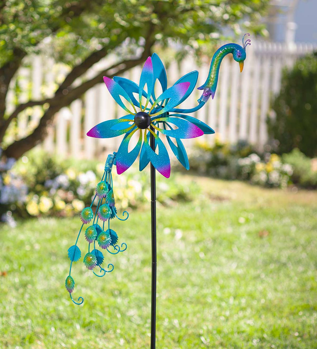 Peacock Wind Spinner with Bobble Accents