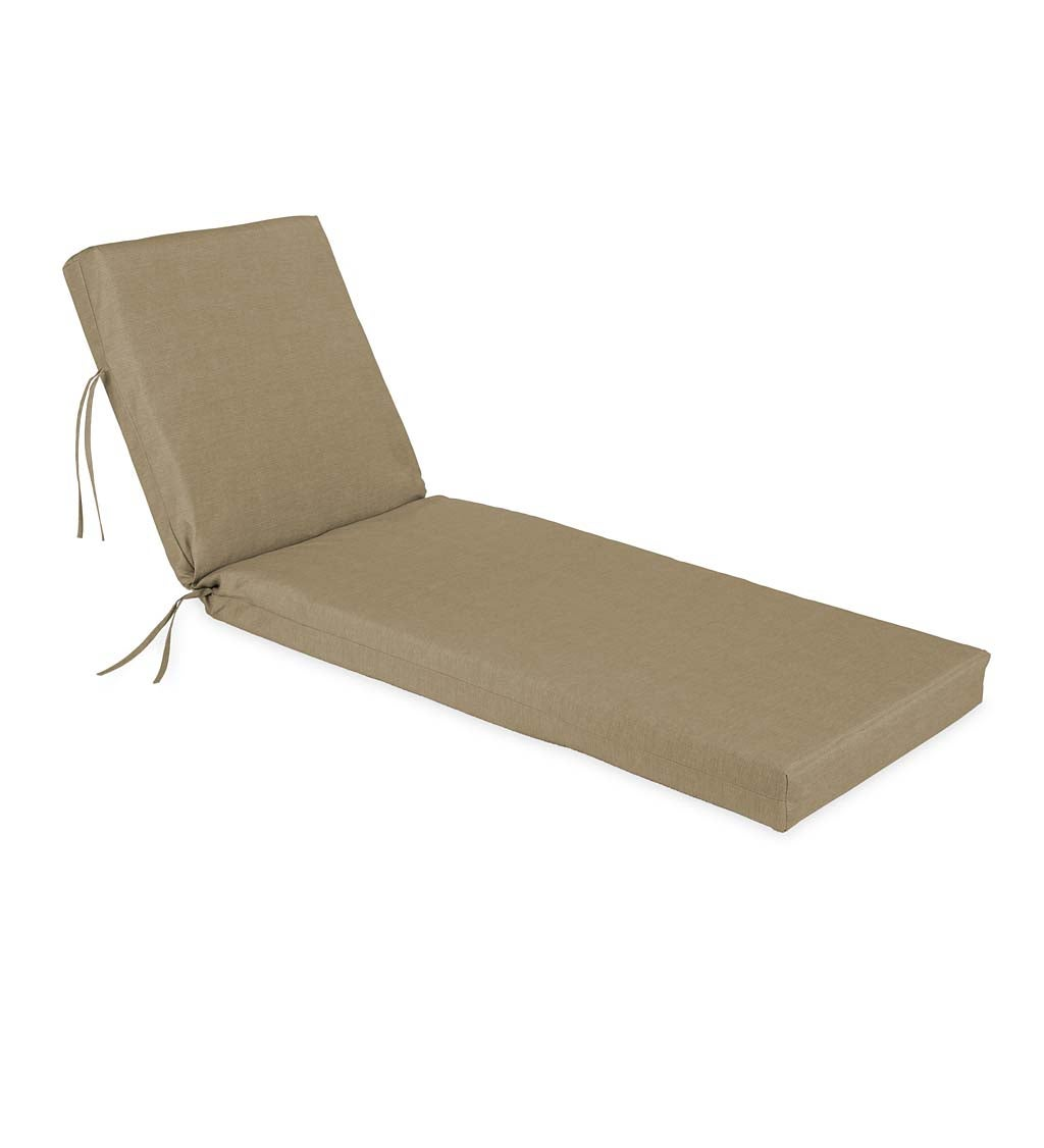 "Sunbrella® Classic Chaise Cushion with Ties, 65"" x 23"" x 4"" hinged 46"" from bottom swatch image"
