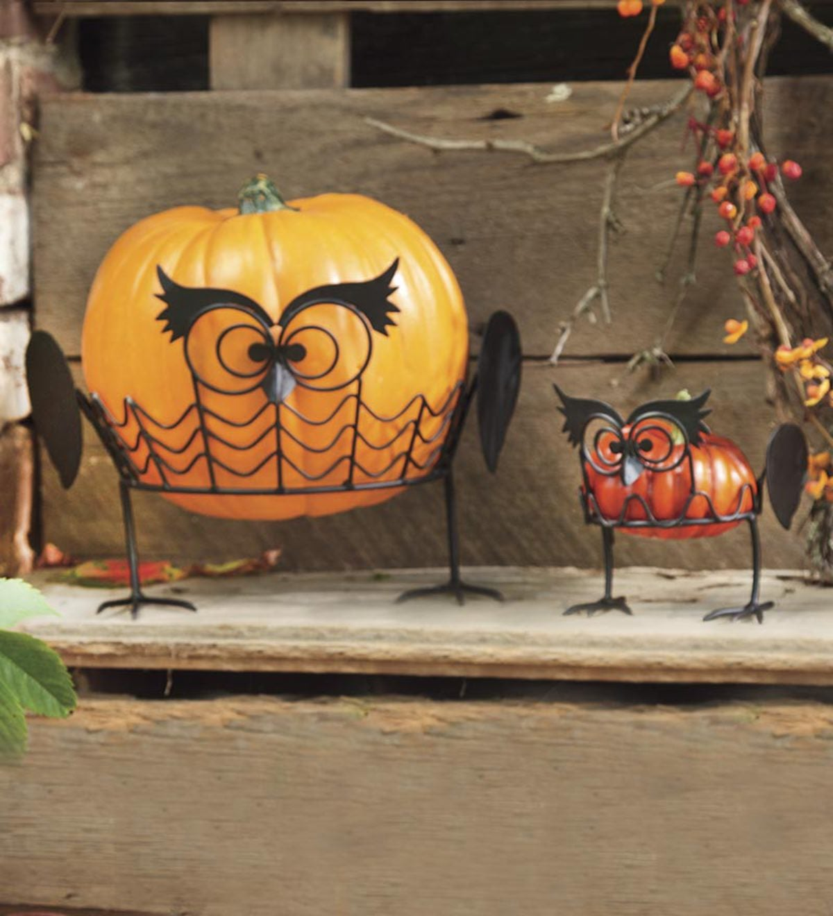 Set 2 Owl Pumpkin Holders