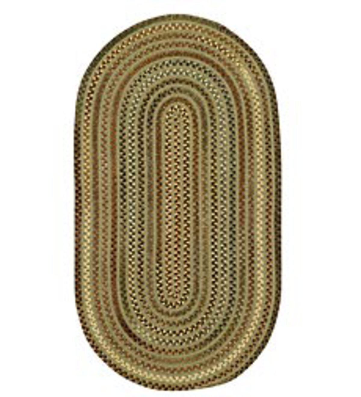 3' x 5' Briar Wood Oval Braided Reversible Blend Rugs - Olive