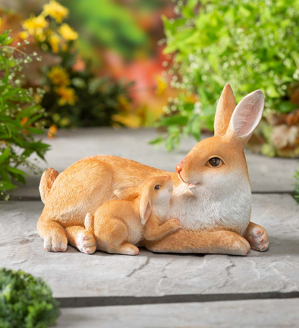 Mother and Baby Rabbit Garden Statue