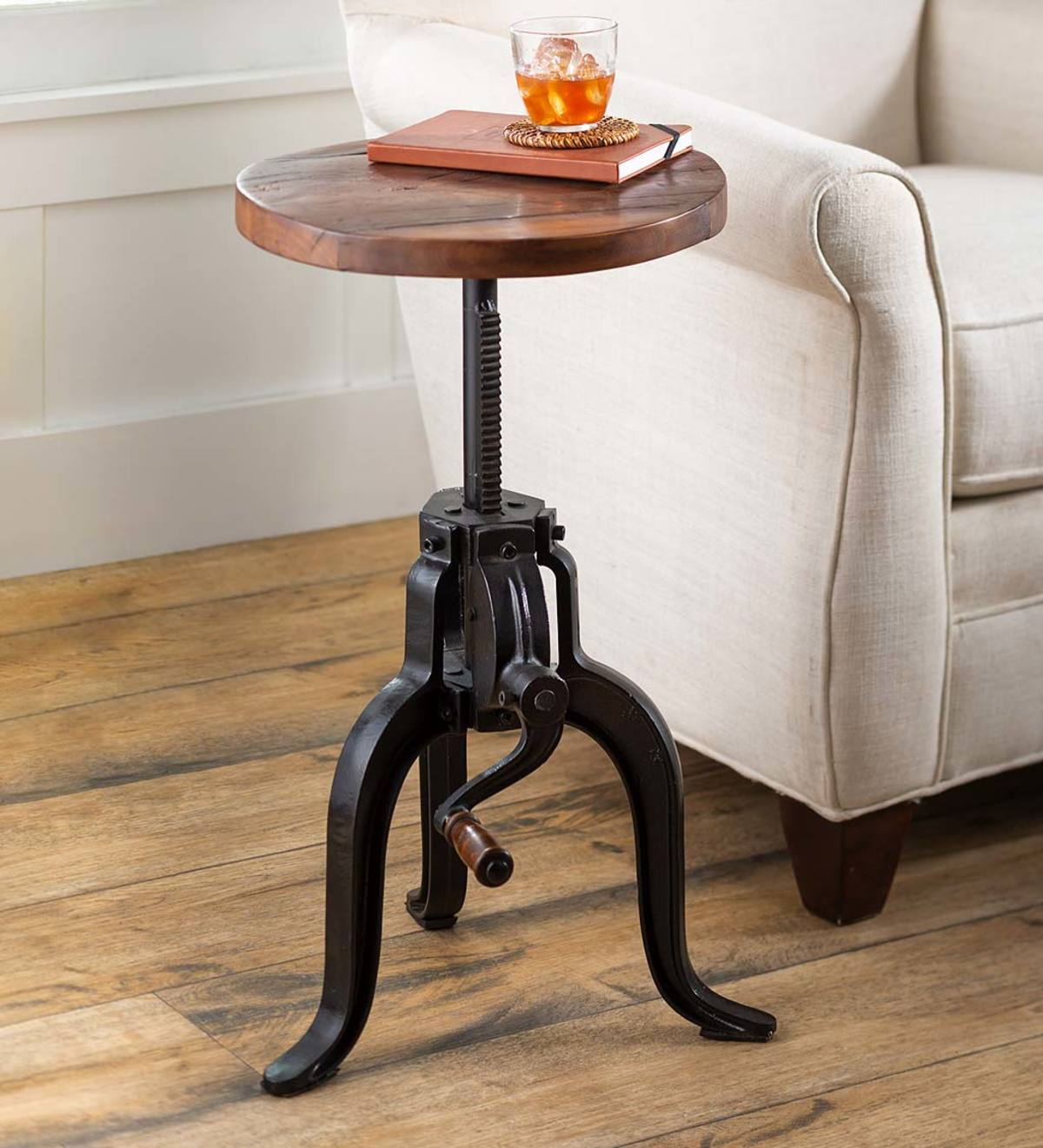 Picture of: Allegheny Reclaimed Wood Adjustable Height Crank Table Plowhearth