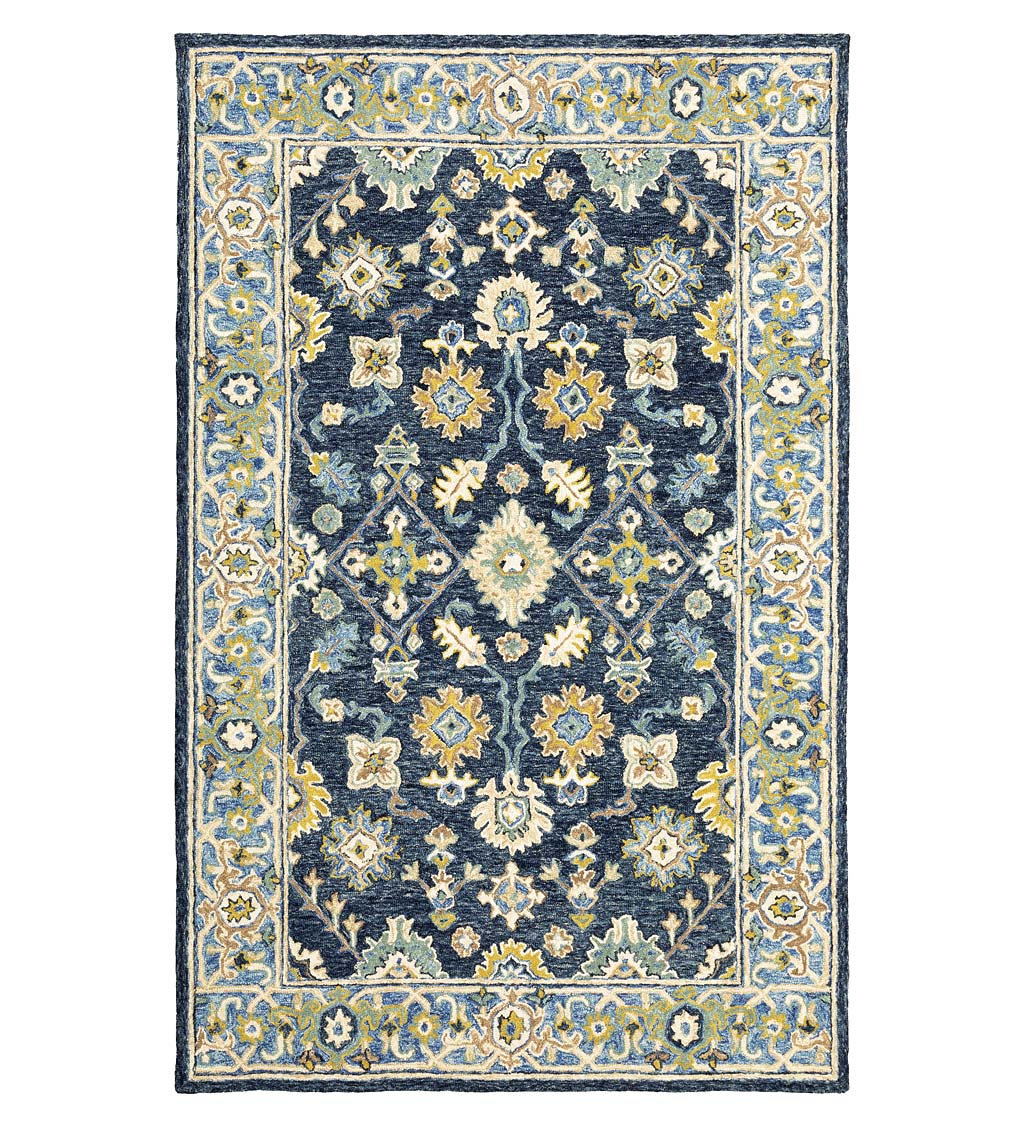 Willow Oaks Blue Wool Border Rug, 10' x 13'
