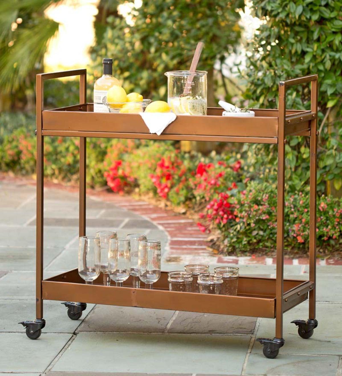 Indoor Outdoor Rolling Bar Cart