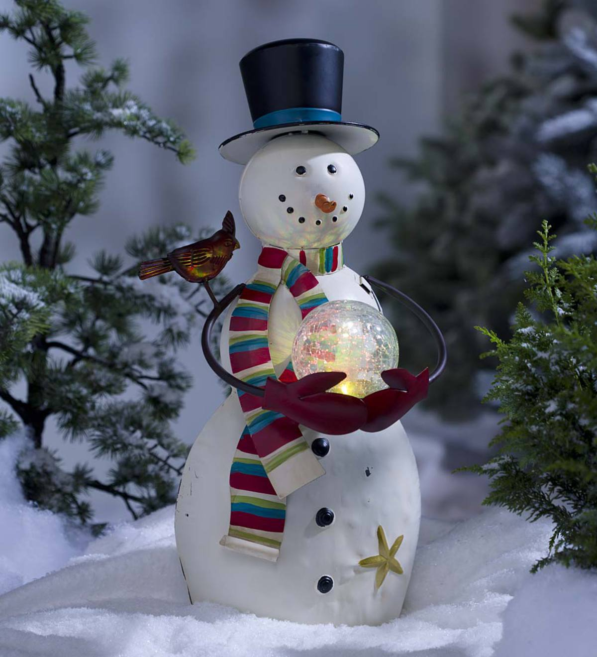 Indoor Outdoor Snowman Sculpture With Color Changing Glass