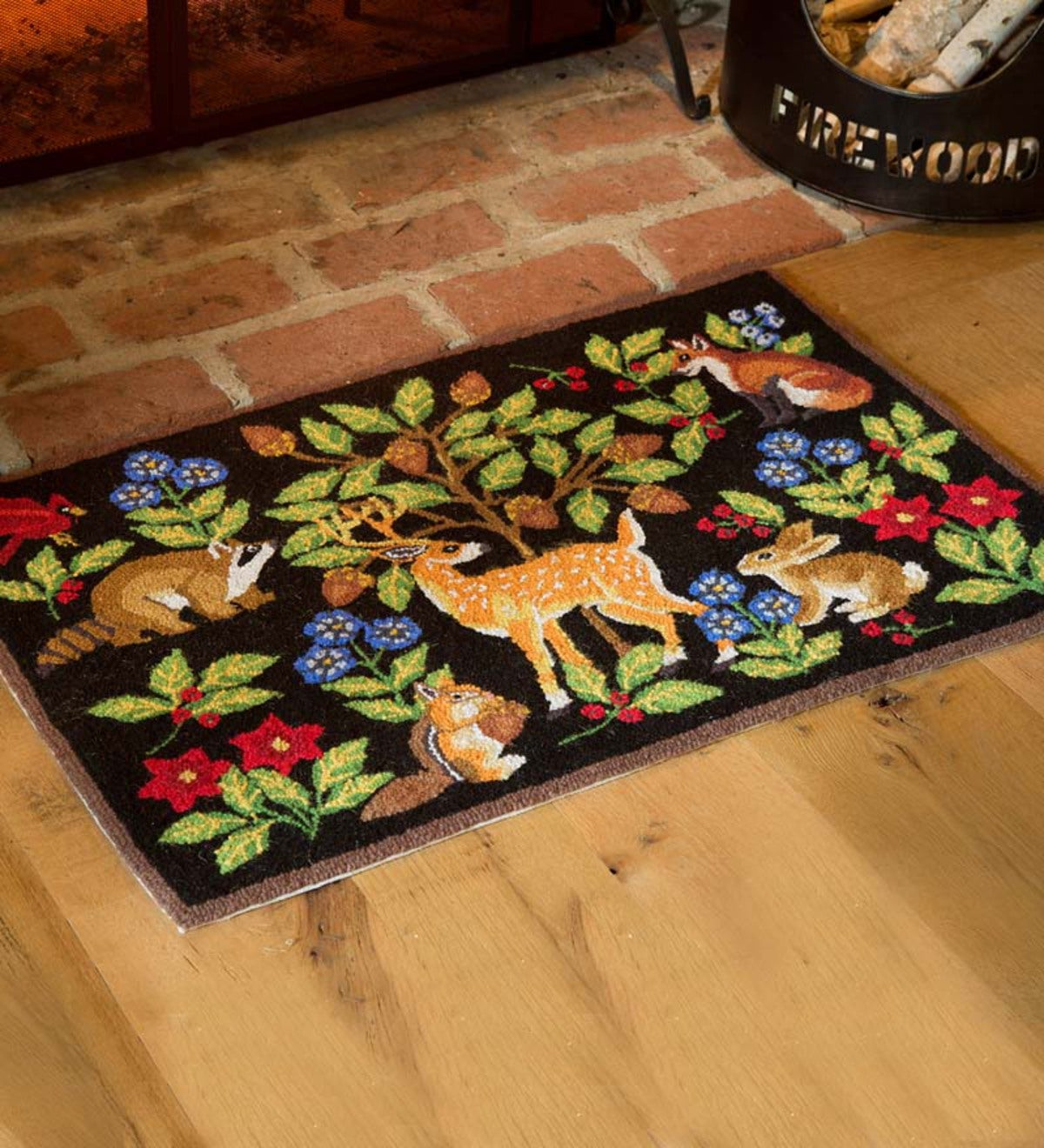 Hooked Wool Woodland Animals Rug