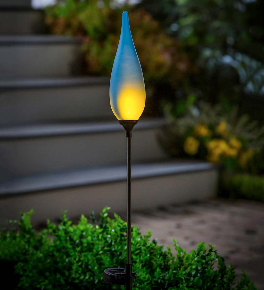 "Solar Flame Dark Blue Finial Frosted Glass Torch, 33""H"