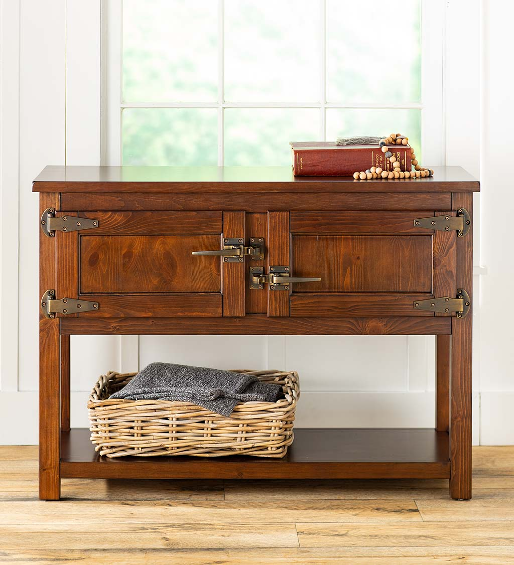 Portland Ice Box Storage Console Table with Replica Hardware