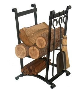 American-Made Hammered Steel Compact Curved Log Rack With Tool Set