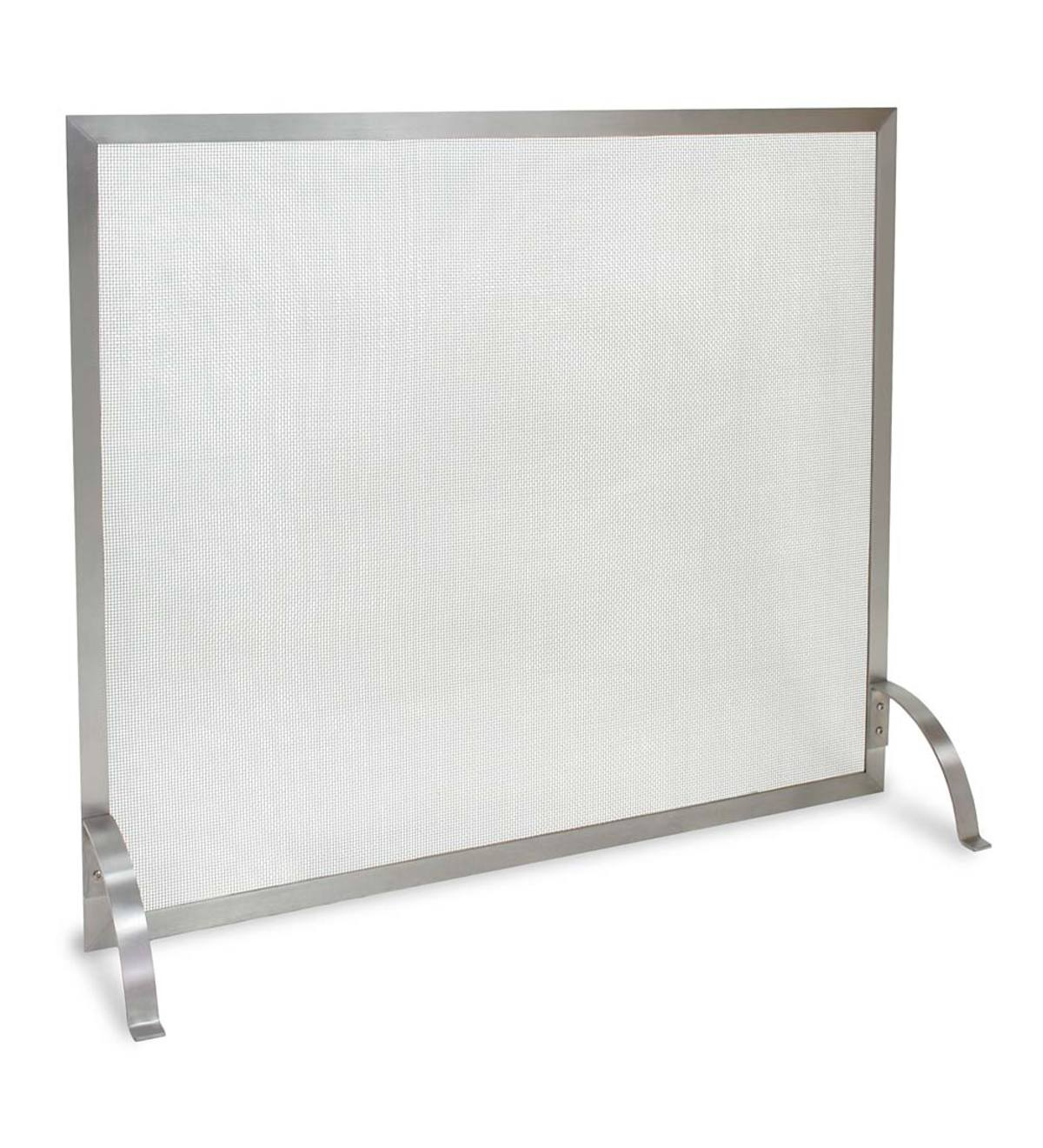 Stainless Steel Newport Single-Panel Fireplace Screen