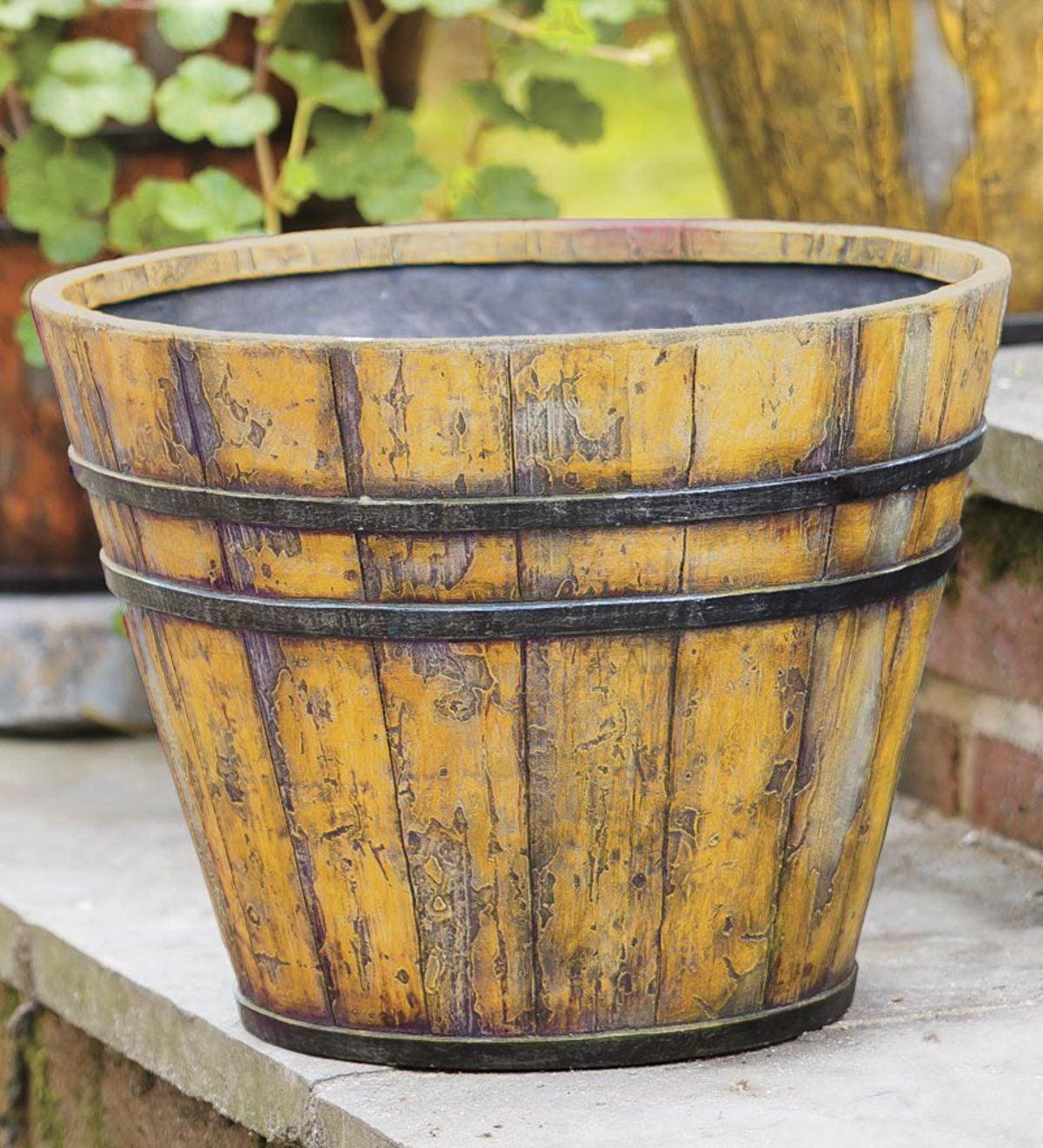 Faux Wooden Bucket Planter Moss Plowhearth