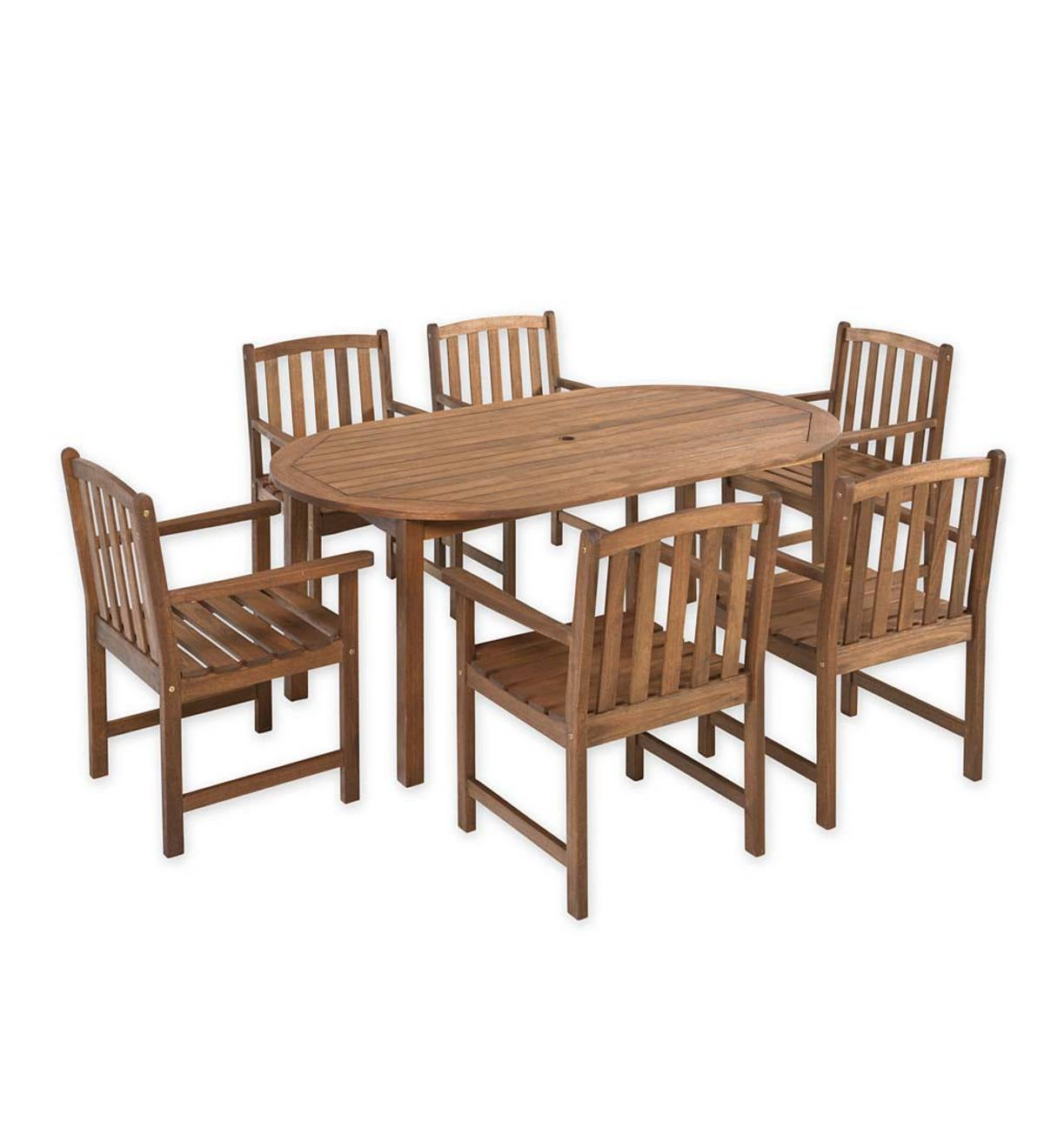 Lancaster Outdoor Furniture Collection, Eucalyptus Wood Oval Table and 6 Chairs