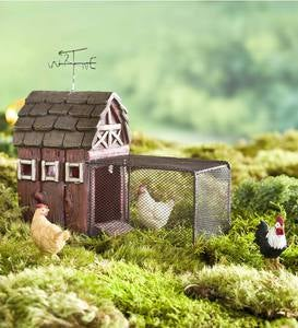 Miniature Fairy Garden Chicken Coop with Run