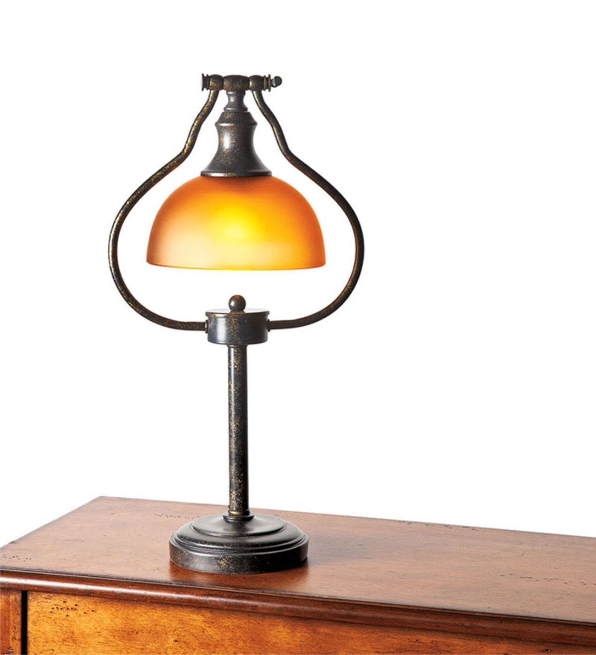 Library Floor Lamp with Amber Glass Shade and Antique Bronze Finish