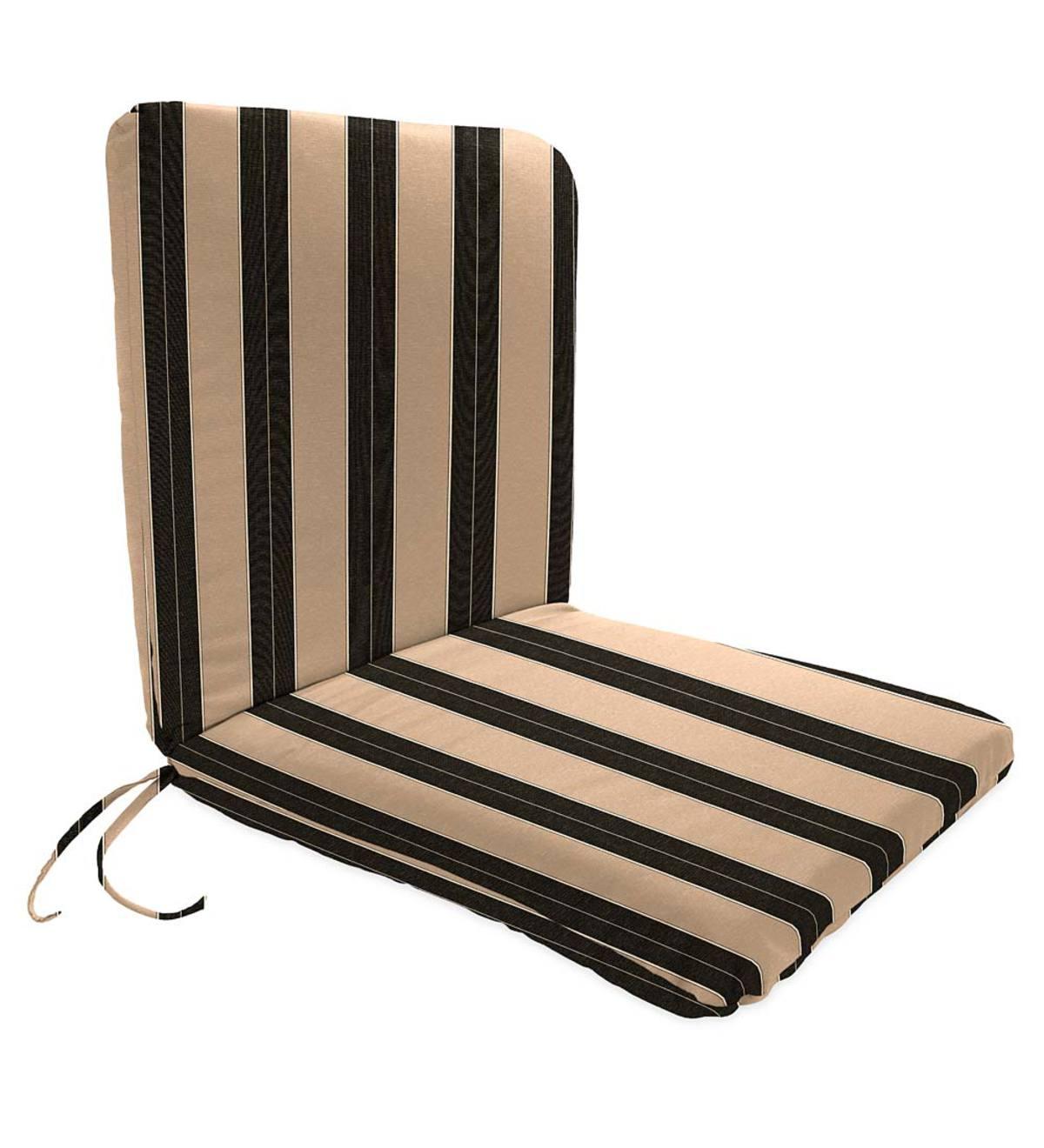"Outdoor Sunbrella Canvas Black 2/"" Foam Seat Cushion with Ties"