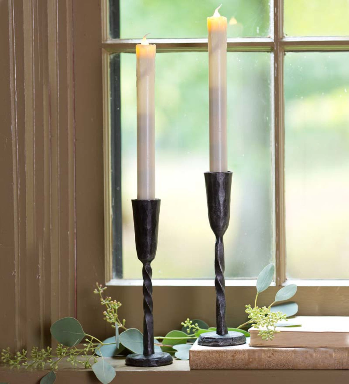 Hand-Forged Iron Battery-Operated Window Candle With Auto