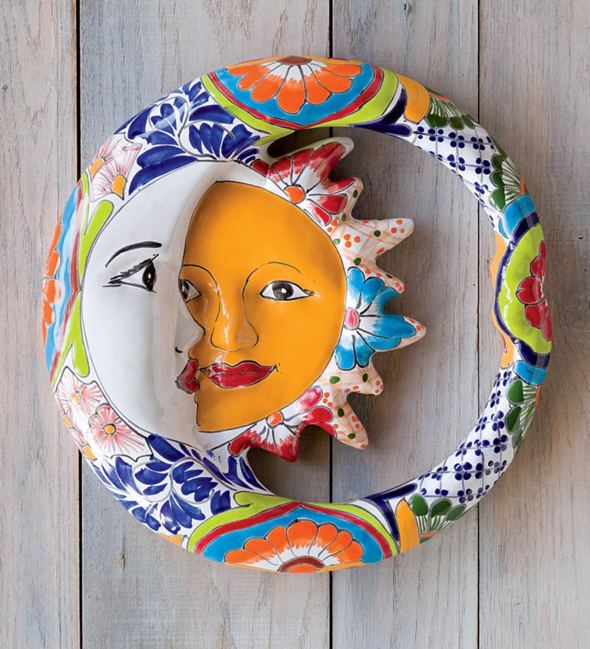 Plow And Hearth Talavera Wall Accent Metal: Talavera-Inspired Ceramic Eclipse Wall Accent