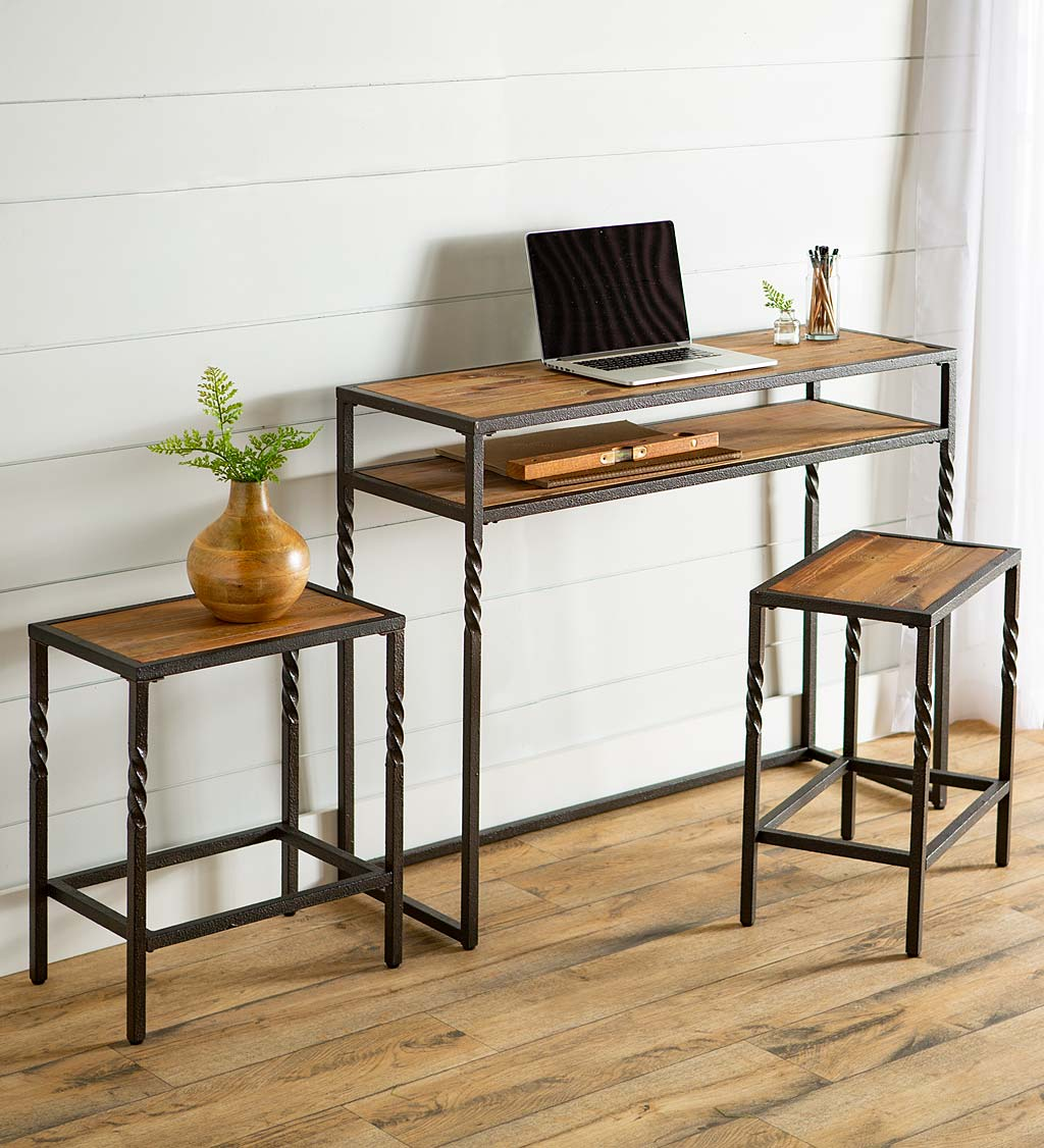 Deep Creek Three Piece Console Table Set with Stools
