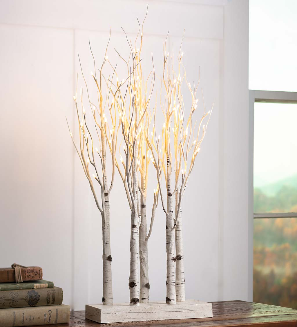 Lighted Birch Line Treescape Accent